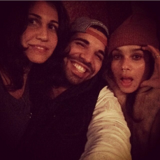 Drake with Zoe and her friend who he apparently flew over