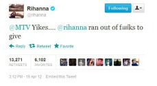 "MTV tweeted a story they'd written by saying ""Yikes Rihanna's marijuana photos from Coachella spark controversy."""