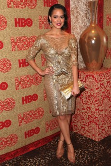 GGames of Thrones star Nathalie Emmanuel rocks Loerna Sarbu at The HBO Golden Globes post party