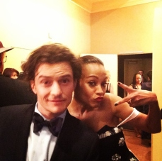 Orlando Bloom and Zoe Saldana get silly backstage!