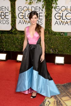 Sandra Bullock wore a colour block Prabal Gurung Doubleface Satin V-Neck Gown.