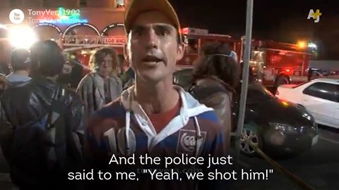 Drunk Australian Eyewitness to LAPD Venice Police Shooting sums up Police Brutality.